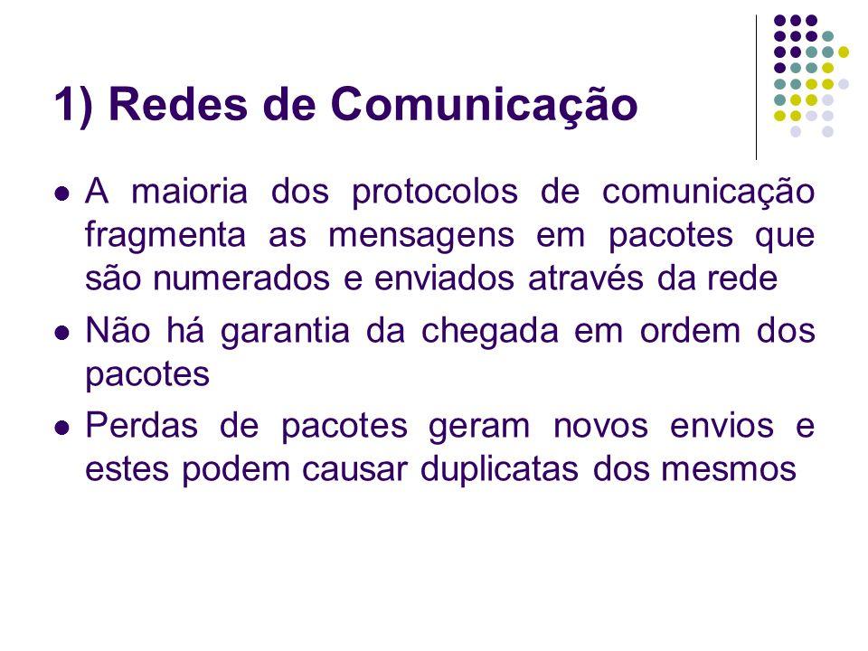 1) Redes de Comunicação A maioria dos protocolos de comunicação fragmenta as mensagens em pacotes que são numerados e enviados através da rede Não há