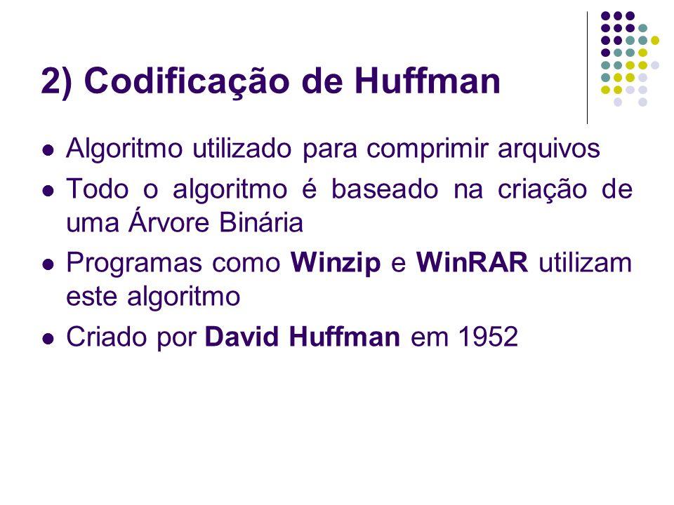 2) Codificação de Huffman Algoritmo utilizado para comprimir arquivos Todo o algoritmo é baseado na criação de uma Árvore Binária Programas como Winzi