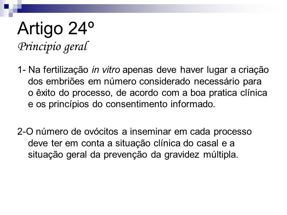 Artigo 24º Principio geral 1- Na fertilização in vitro apenas deve haver lugar a criação dos embriões em número considerado necessário para o êxito do