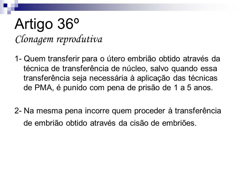 Artigo 36º Clonagem reprodutiva 1- Quem transferir para o útero embrião obtido através da técnica de transferência de núcleo, salvo quando essa transf