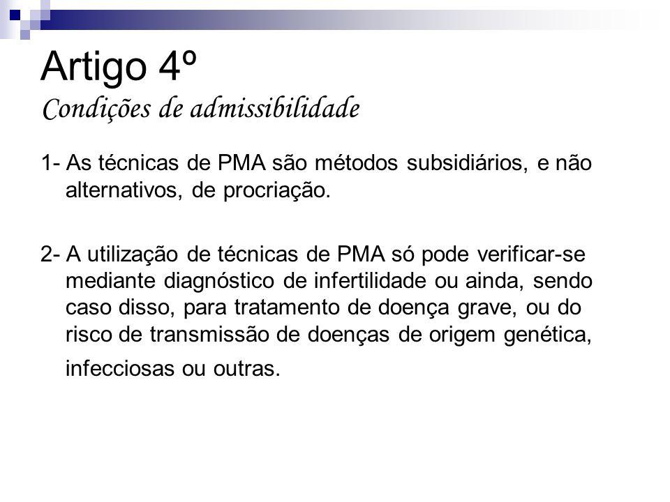 Artigo 4º Condições de admissibilidade 1- As técnicas de PMA são métodos subsidiários, e não alternativos, de procriação. 2- A utilização de técnicas