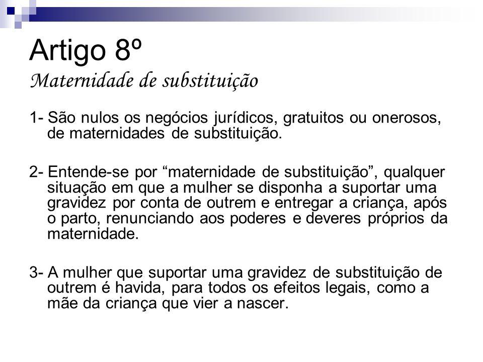 Artigo 8º Maternidade de substituição 1- São nulos os negócios jurídicos, gratuitos ou onerosos, de maternidades de substituição. 2- Entende-se por ma
