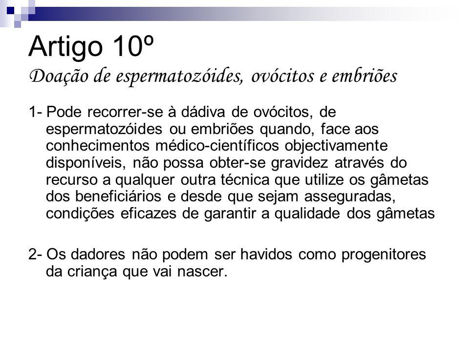 Artigo 10º Doação de espermatozóides, ovócitos e embriões 1- Pode recorrer-se à dádiva de ovócitos, de espermatozóides ou embriões quando, face aos co
