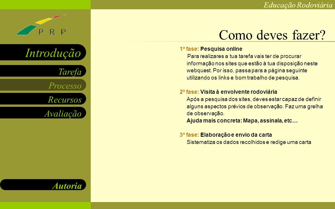 Educação Rodoviária Processo Recursos Avaliação Autoria Tarefa Introdução www.prp.pt www.dgv.pt www.gnr.pt www.psp.pt www.apsi.com http://www.bmwworld.com/bmw/kids/index.htm Onde podes procurar?