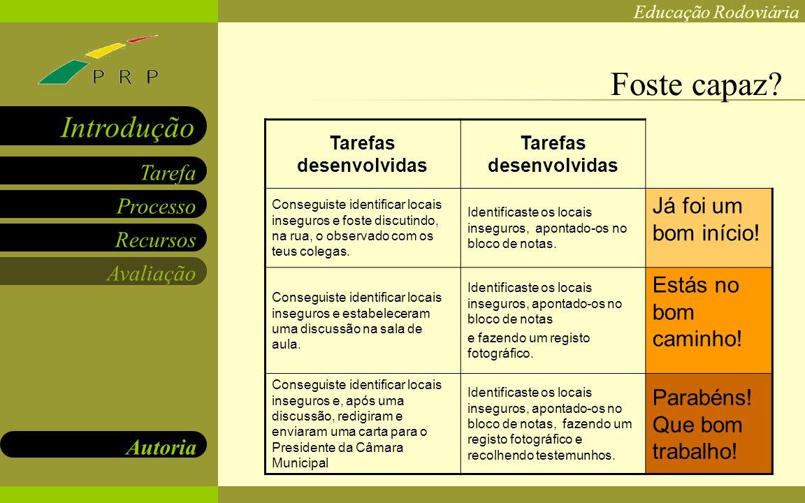 Educação Rodoviária Processo Recursos Avaliação Autoria Tarefa Introdução Carla Pedro Rosa Pita karlofski@hotmail.com http://carlapedrocv.blogspot.com rosa_pita@hotmail.com http://rosapcv.blogspot.com As autoras!