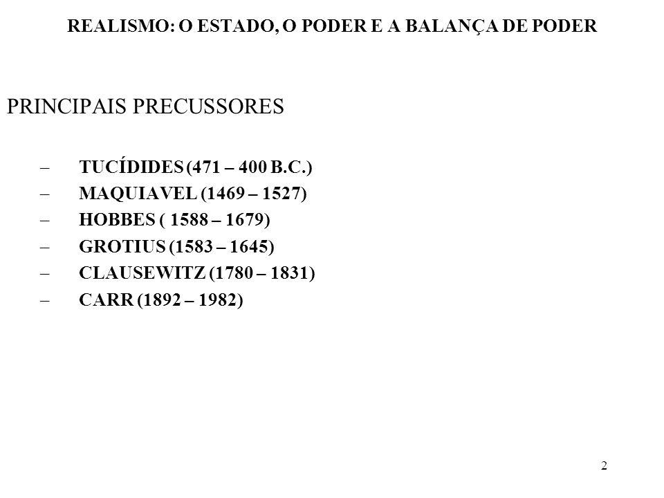 3 REALISMO: O ESTADO, O PODER E A BALANÇA DE PODER HUGO GROTIUS (1583 – 1645) HOLANDÊS CONTEMPORÂNEO DE THOMAS HOBBES, POSSUI UMA VISÃO DIFERENTE DAQUELA ASSOCIADA A HOBBES E A MAQUIAVEL CONCORDA COM A EXISTÊNCIA DA ANARQUIA INTERNACIONAL, MAS DEVERIA HAVER LEIS QUE REGULASSEM O RELACIONAMENTO INTERESTATAL OS VALORES, OU NORMAS, PARTICULARMENTE QUANDO RECONHECIDAS COMO LEIS INTERNACIONAIS, SÃO IMPORTANTES PARA MANTER A ORDEM INTERNACIONAL