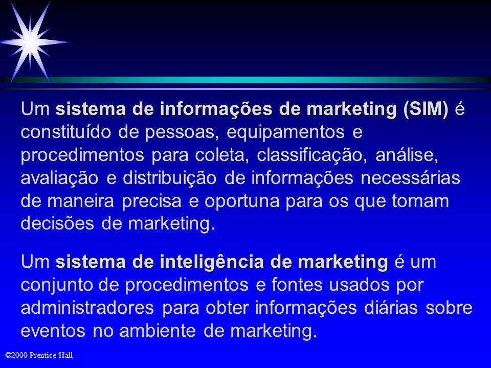 ©2000 Prentice Hall Revisão ä Os componentes de um moderno sistema de informações de marketing ä Sistema de pesquisa de marketing ä Sistema de apoio a decisões de marketing ä Previsão e mensuração da demanda