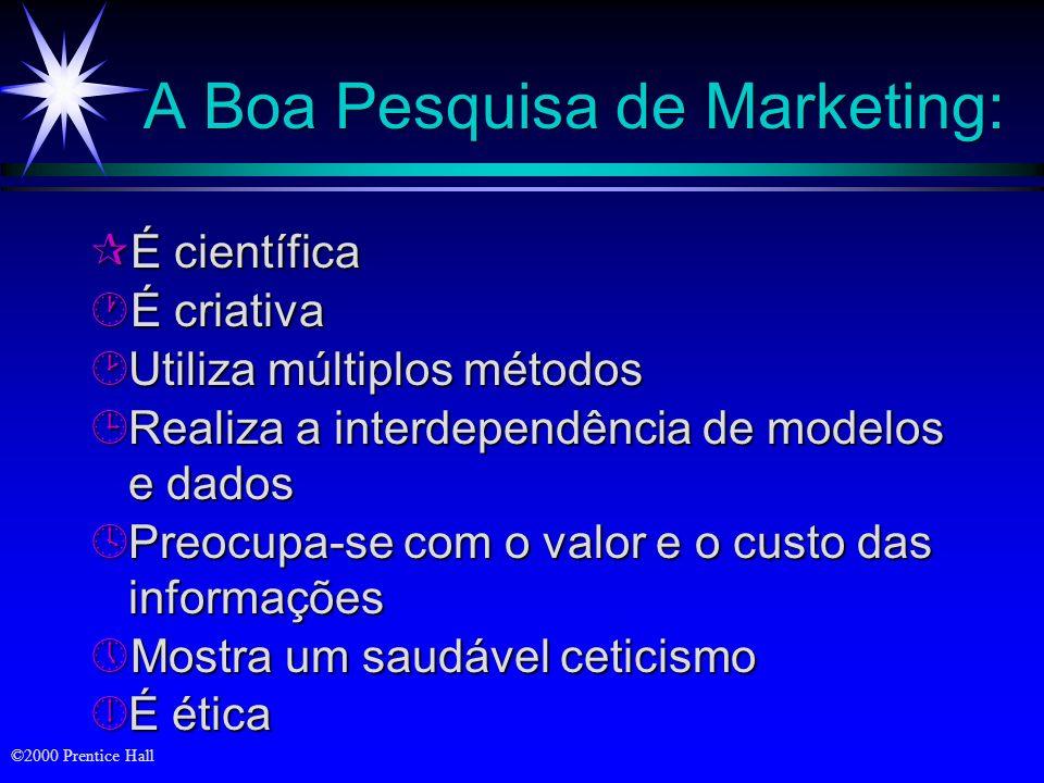 ©2000 Prentice Hall O Processo de Pesquisa de Marketing Definição do problema e dos objetivos da pesquisa da pesquisa Definição do problema e dos obje