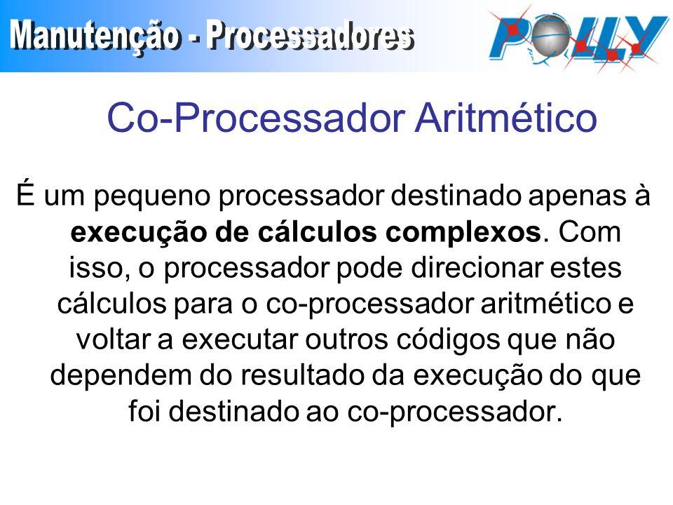 Co-Processador Aritmético É um pequeno processador destinado apenas à execução de cálculos complexos.