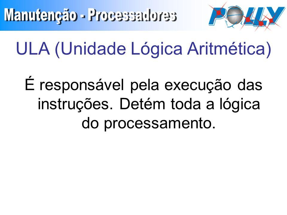 ULA (Unidade Lógica Aritmética) É responsável pela execução das instruções.