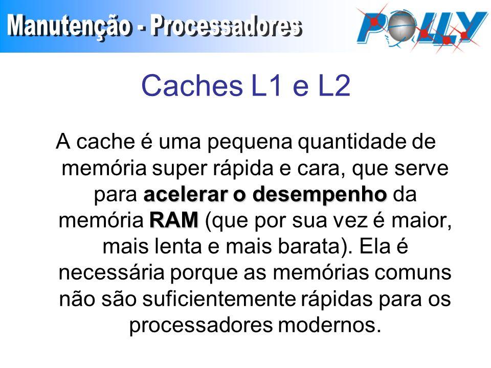 Caches L1 e L2 acelerar o desempenho RAM A cache é uma pequena quantidade de memória super rápida e cara, que serve para acelerar o desempenho da memória RAM (que por sua vez é maior, mais lenta e mais barata).