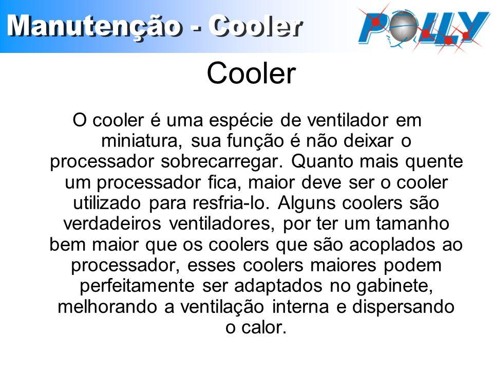 Cooler O cooler é uma espécie de ventilador em miniatura, sua função é não deixar o processador sobrecarregar.