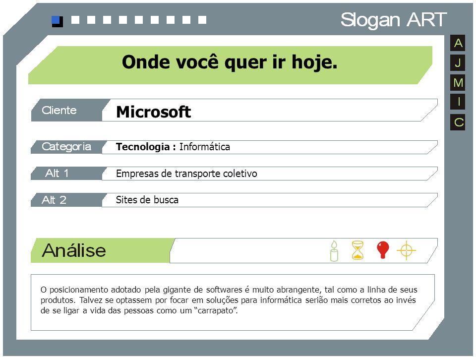 Microsoft Tecnologia : Informática Empresas de transporte coletivo Sites de busca Onde você quer ir hoje. O posicionamento adotado pela gigante de sof