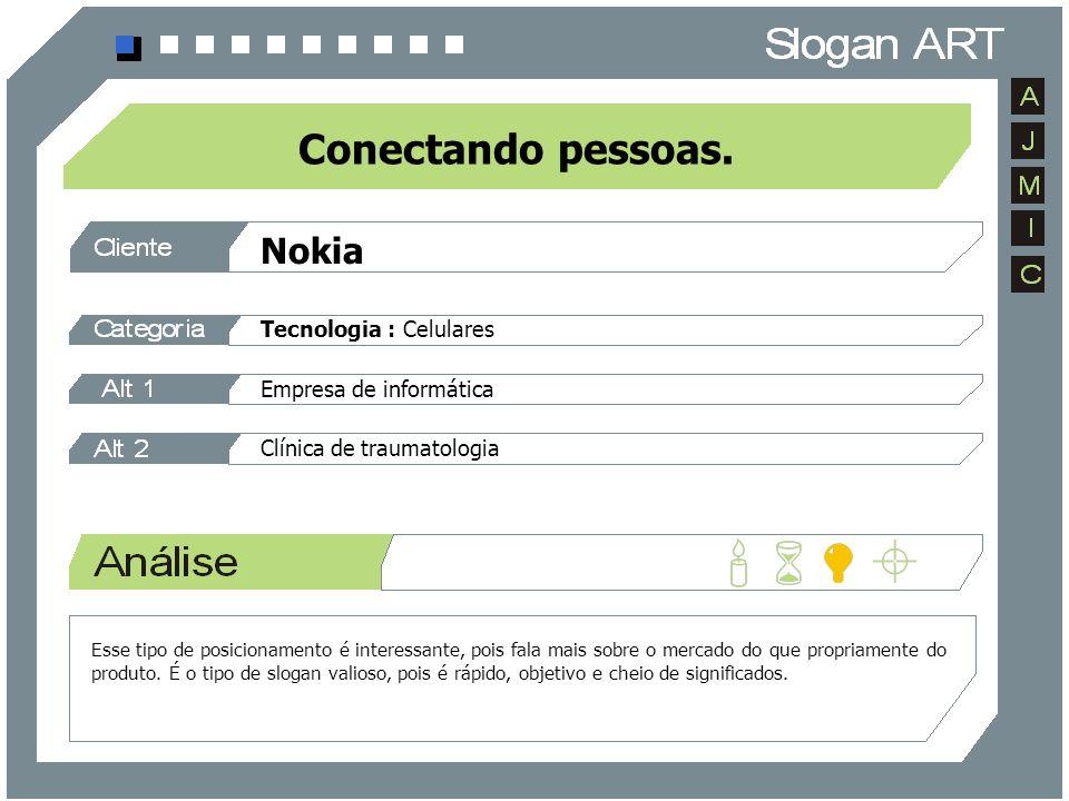 Nokia Tecnologia : Celulares Empresa de informática Clínica de traumatologia Conectando pessoas. Esse tipo de posicionamento é interessante, pois fala
