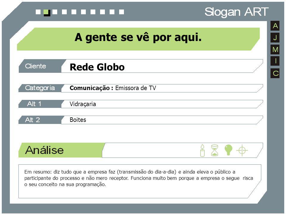Rede Globo Comunicação : Emissora de TV Vidraçaria Boites A gente se vê por aqui. Em resumo: diz tudo que a empresa faz (transmissão do dia-a-dia) e a