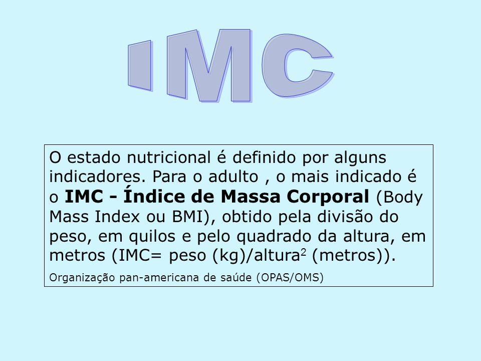 O estado nutricional é definido por alguns indicadores. Para o adulto, o mais indicado é o IMC - Índice de Massa Corporal (Body Mass Index ou BMI), ob