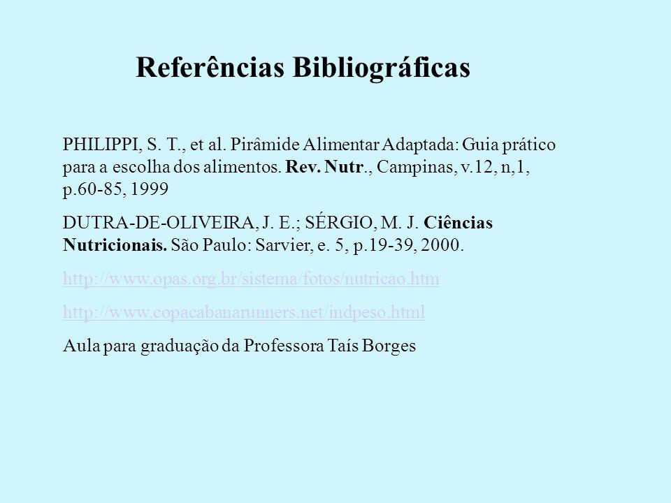 Referências Bibliográficas PHILIPPI, S. T., et al. Pirâmide Alimentar Adaptada: Guia prático para a escolha dos alimentos. Rev. Nutr., Campinas, v.12,