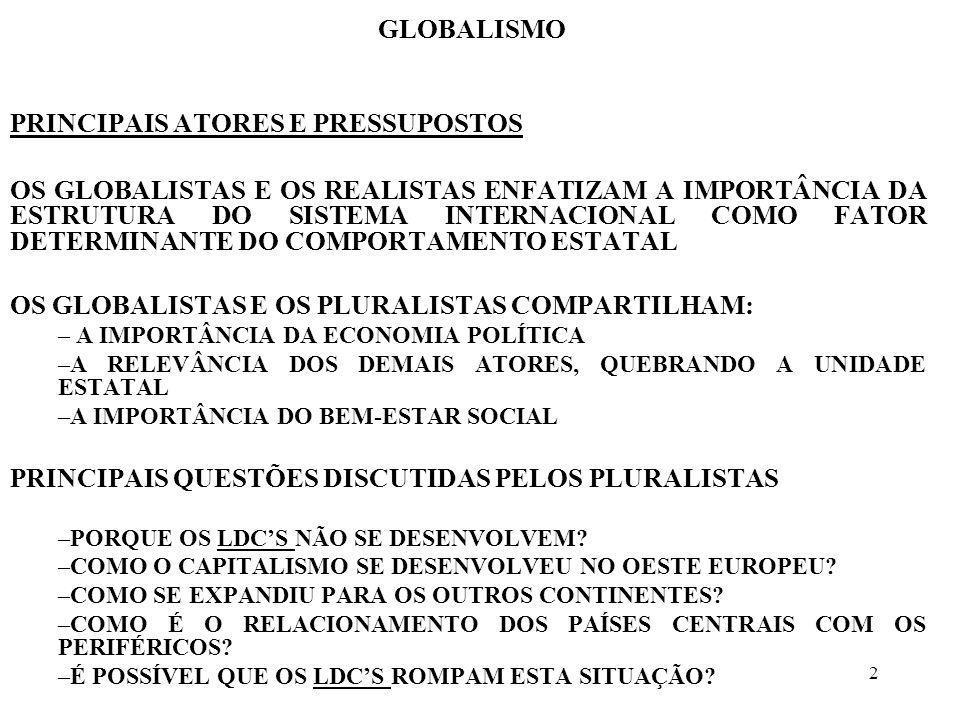 2 GLOBALISMO PRINCIPAIS ATORES E PRESSUPOSTOS OS GLOBALISTAS E OS REALISTAS ENFATIZAM A IMPORTÂNCIA DA ESTRUTURA DO SISTEMA INTERNACIONAL COMO FATOR D