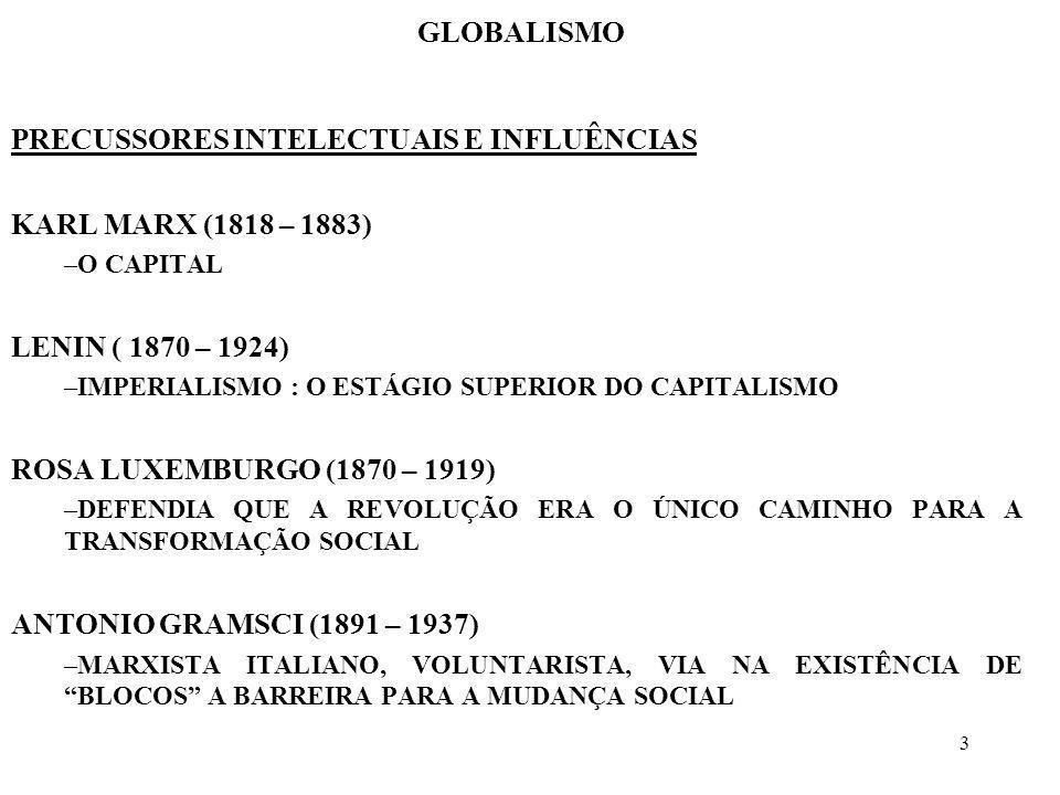 3 GLOBALISMO PRECUSSORES INTELECTUAIS E INFLUÊNCIAS KARL MARX (1818 – 1883) –O CAPITAL LENIN ( 1870 – 1924) –IMPERIALISMO : O ESTÁGIO SUPERIOR DO CAPI