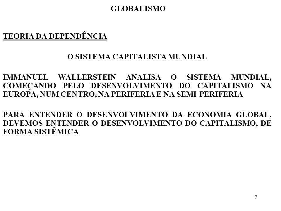 7 GLOBALISMO TEORIA DA DEPENDÊNCIA O SISTEMA CAPITALISTA MUNDIAL IMMANUEL WALLERSTEIN ANALISA O SISTEMA MUNDIAL, COMEÇANDO PELO DESENVOLVIMENTO DO CAP