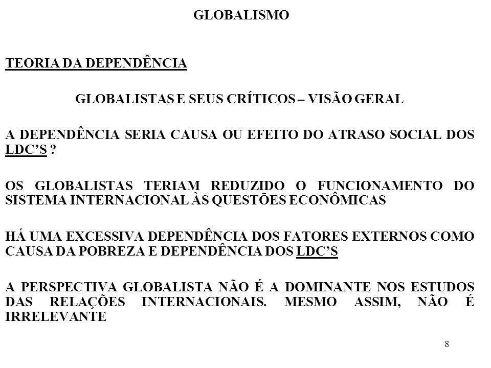 8 GLOBALISMO TEORIA DA DEPENDÊNCIA GLOBALISTAS E SEUS CRÍTICOS – VISÃO GERAL A DEPENDÊNCIA SERIA CAUSA OU EFEITO DO ATRASO SOCIAL DOS LDCS ? OS GLOBAL