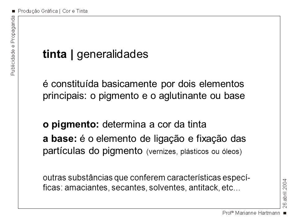 tinta | generalidades é constituída basicamente por dois elementos principais: o pigmento e o aglutinante ou base o pigmento: determina a cor da tinta