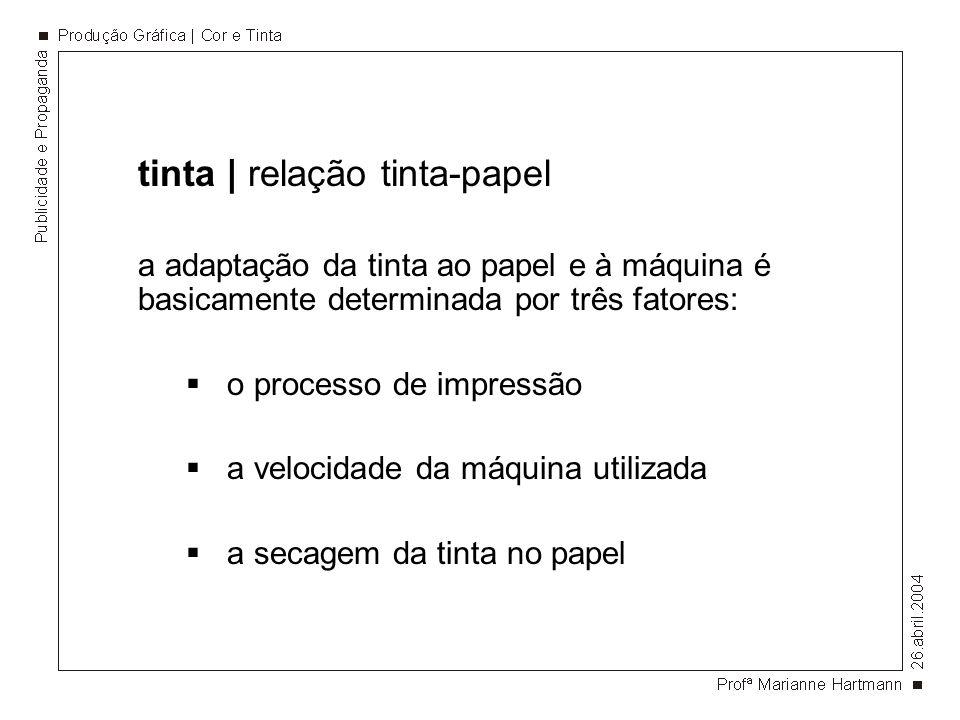 tinta | relação tinta-papel a adaptação da tinta ao papel e à máquina é basicamente determinada por três fatores: o processo de impressão a velocidade
