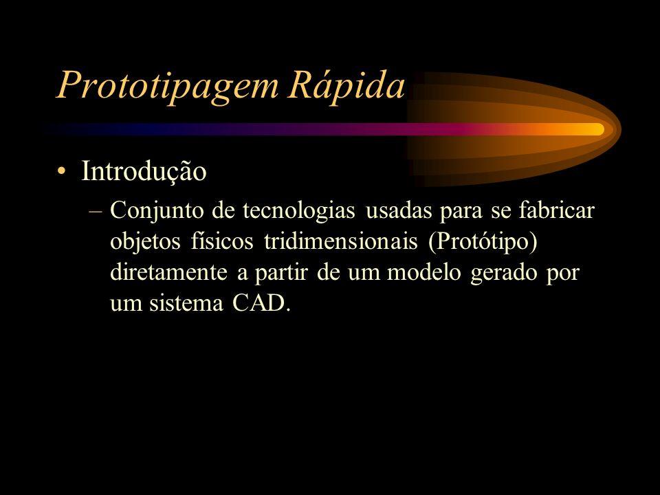 Prototipagem Rápida Introdução –Conjunto de tecnologias usadas para se fabricar objetos físicos tridimensionais (Protótipo) diretamente a partir de um