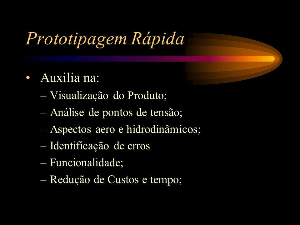 Prototipagem Rápida Auxilia na: –Visualização do Produto; –Análise de pontos de tensão; –Aspectos aero e hidrodinâmicos; –Identificação de erros –Func