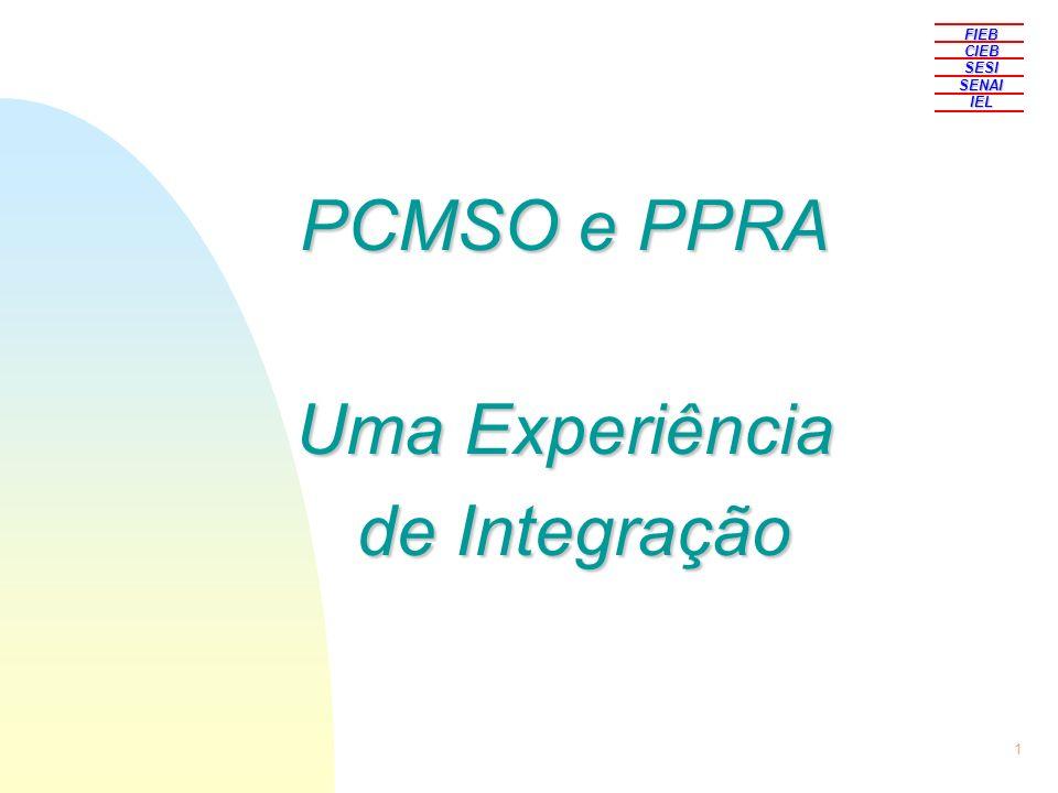 1 PCMSO e PPRA Uma Experiência de Integração de Integração FIEBCIEBSESISENAIIEL
