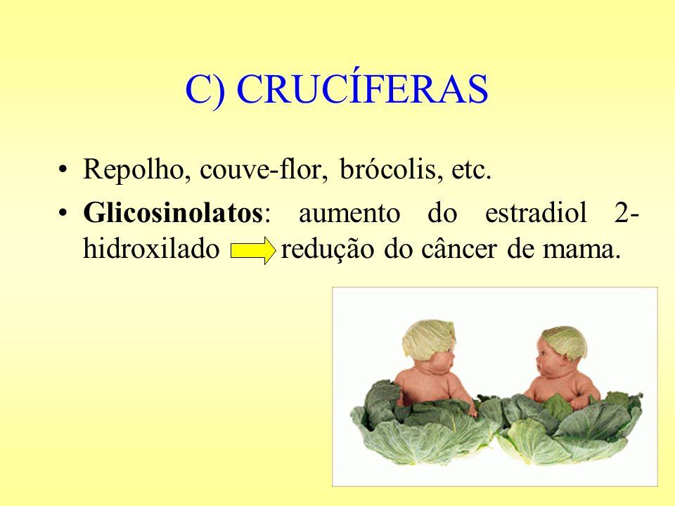 C) CRUCÍFERAS Repolho, couve-flor, brócolis, etc. Glicosinolatos: aumento do estradiol 2- hidroxilado redução do câncer de mama.