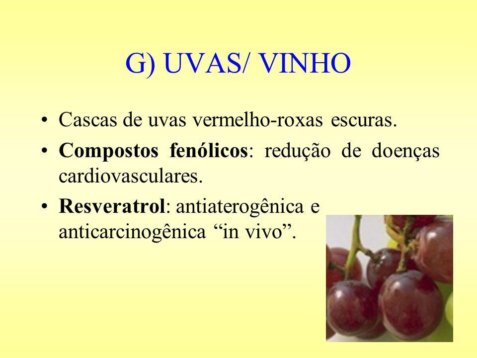 G) UVAS/ VINHO Cascas de uvas vermelho-roxas escuras. Compostos fenólicos: redução de doenças cardiovasculares. Resveratrol: antiaterogênica e anticar
