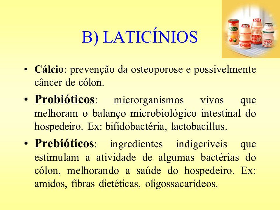 B) LATICÍNIOS Cálcio: prevenção da osteoporose e possivelmente câncer de cólon. Probióticos : microrganismos vivos que melhoram o balanço microbiológi
