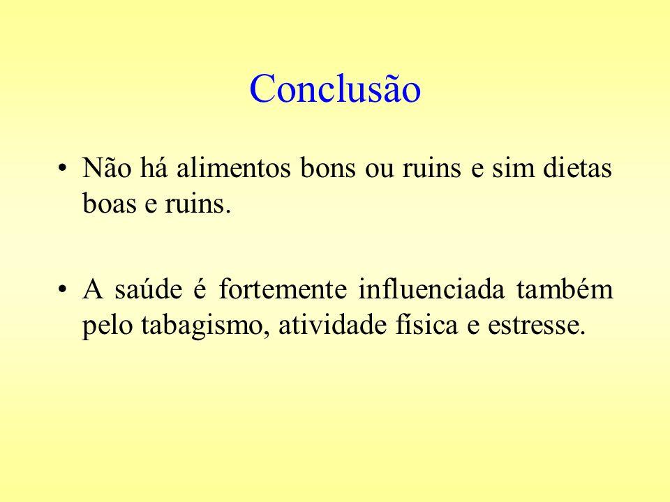 Conclusão Não há alimentos bons ou ruins e sim dietas boas e ruins. A saúde é fortemente influenciada também pelo tabagismo, atividade física e estres