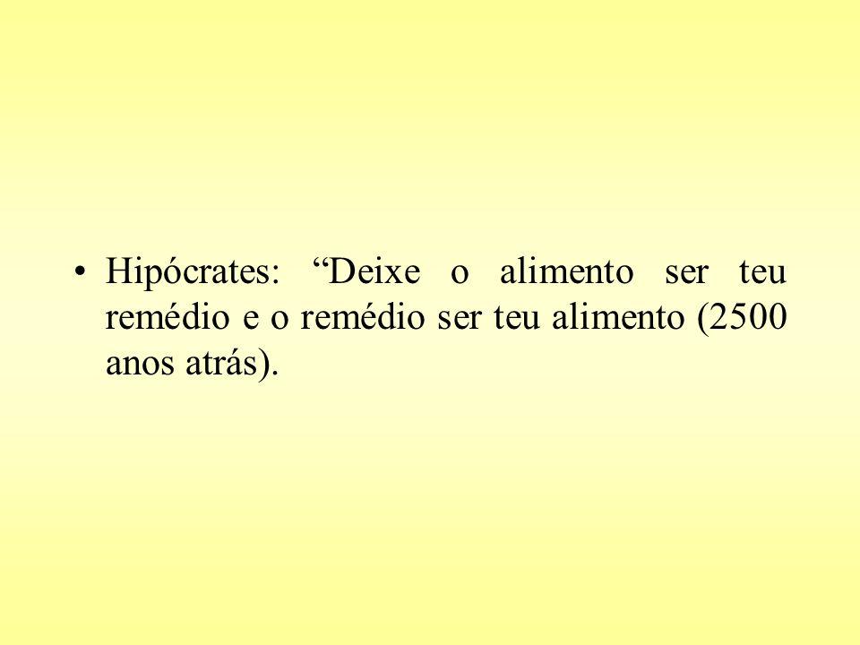 Hipócrates: Deixe o alimento ser teu remédio e o remédio ser teu alimento (2500 anos atrás).