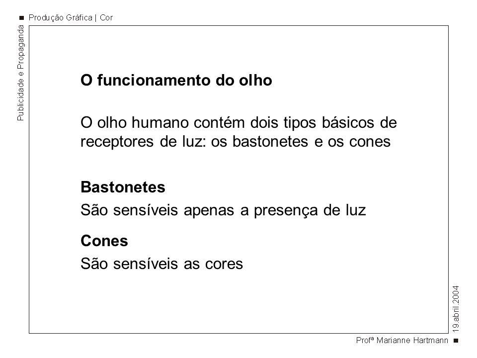 O funcionamento do olho O olho humano contém dois tipos básicos de receptores de luz: os bastonetes e os cones Bastonetes São sensíveis apenas a presença de luz Cones São sensíveis as cores