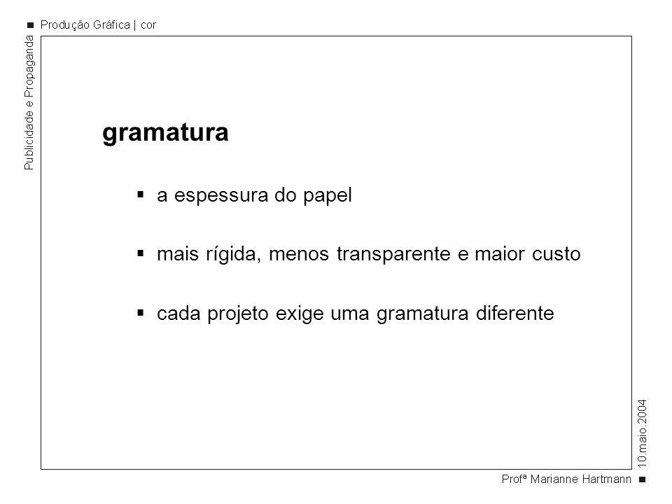 gramatura a espessura do papel mais rígida, menos transparente e maior custo cada projeto exige uma gramatura diferente