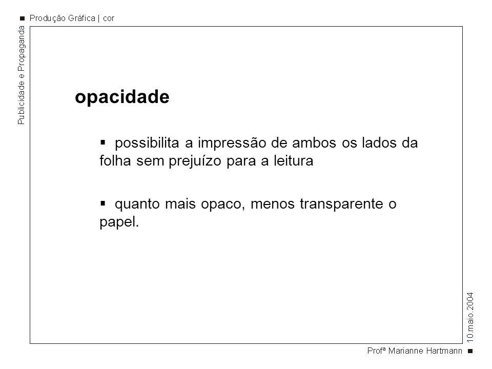 opacidade possibilita a impressão de ambos os lados da folha sem prejuízo para a leitura quanto mais opaco, menos transparente o papel.