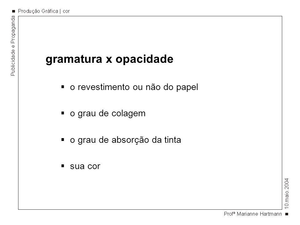 gramatura x opacidade o revestimento ou não do papel o grau de colagem o grau de absorção da tinta sua cor