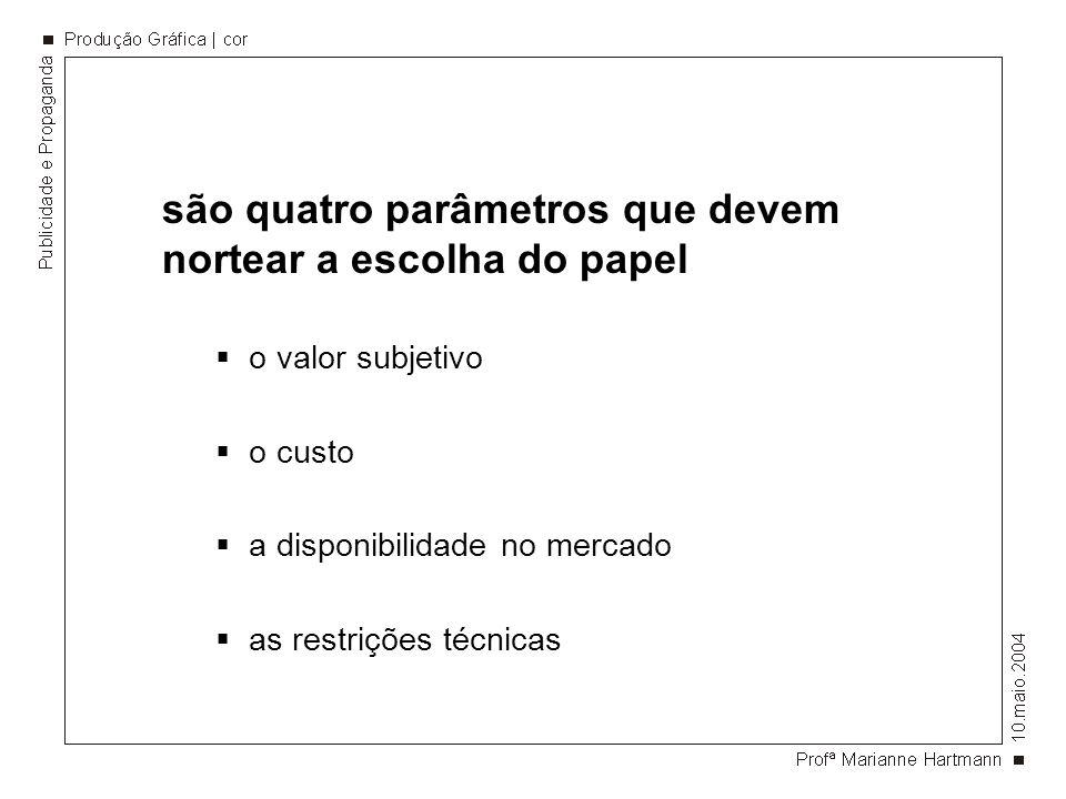 são quatro parâmetros que devem nortear a escolha do papel o valor subjetivo o custo a disponibilidade no mercado as restrições técnicas