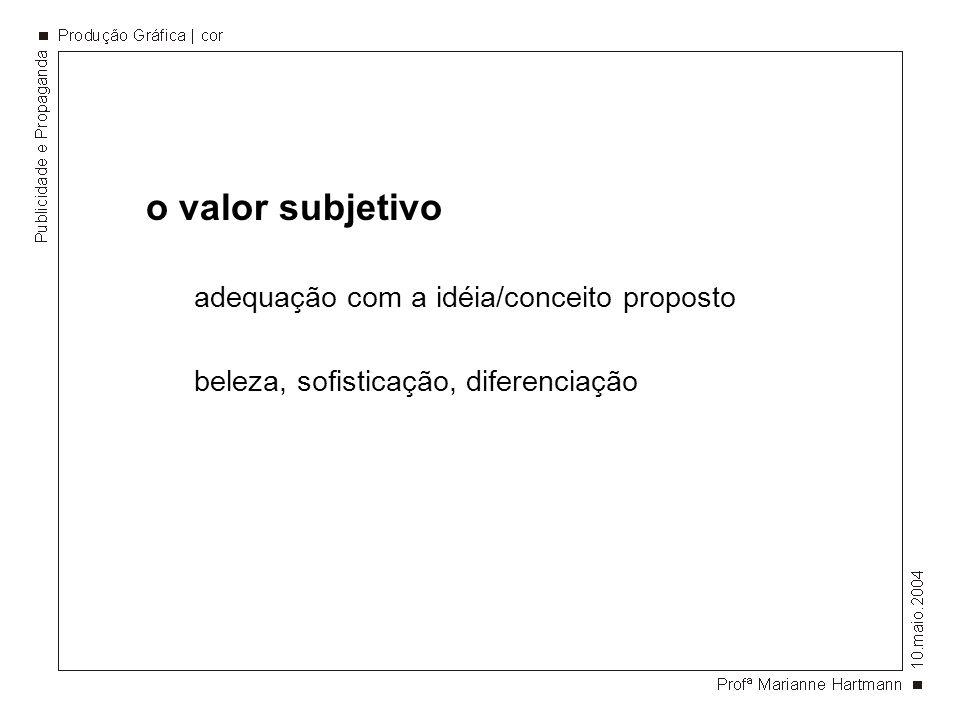 o valor subjetivo adequação com a idéia/conceito proposto beleza, sofisticação, diferenciação