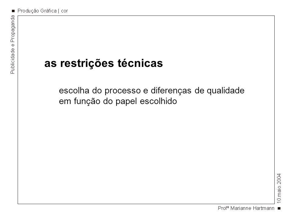 as restrições técnicas escolha do processo e diferenças de qualidade em função do papel escolhido