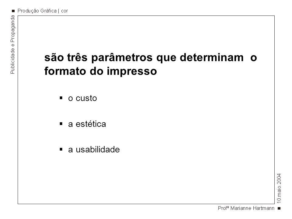 são três parâmetros que determinam o formato do impresso o custo a estética a usabilidade