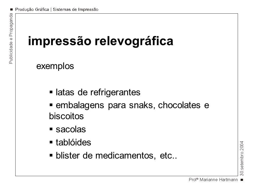 impressão relevográfica exemplos latas de refrigerantes embalagens para snaks, chocolates e biscoitos sacolas tablóides blister de medicamentos, etc..
