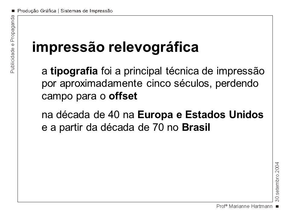 impressão relevográfica a tipografia foi a principal técnica de impressão por aproximadamente cinco séculos, perdendo campo para o offset na década de 40 na Europa e Estados Unidos e a partir da década de 70 no Brasil