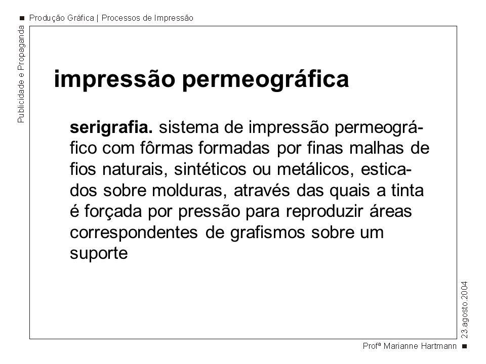 impressão permeográfica serigrafia. sistema de impressão permeográ- fico com fôrmas formadas por finas malhas de fios naturais, sintéticos ou metálico
