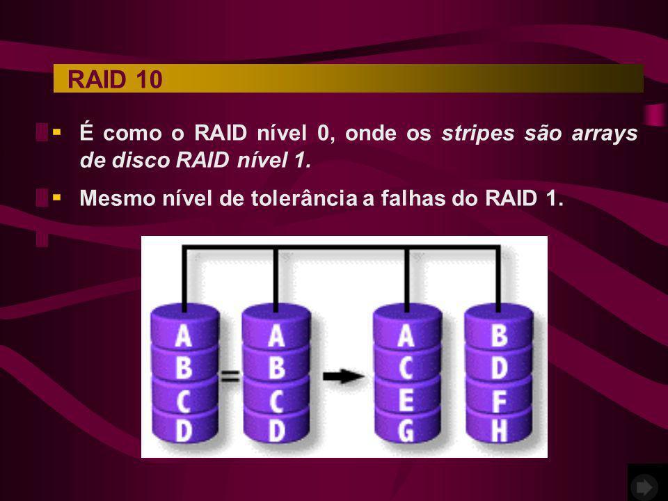 É como o RAID nível 0, onde os stripes são arrays de disco RAID nível 1. RAID 10 Mesmo nível de tolerância a falhas do RAID 1.