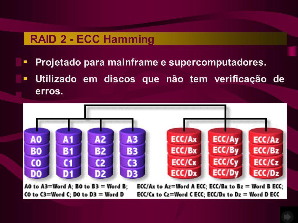 Projetado para mainframe e supercomputadores. Utilizado em discos que não tem verificação de erros. RAID 2 - ECC Hamming
