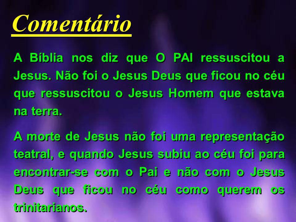 A Bíblia nos diz que O PAI ressuscitou a Jesus. Não foi o Jesus Deus que ficou no céu que ressuscitou o Jesus Homem que estava na terra. A morte de Je