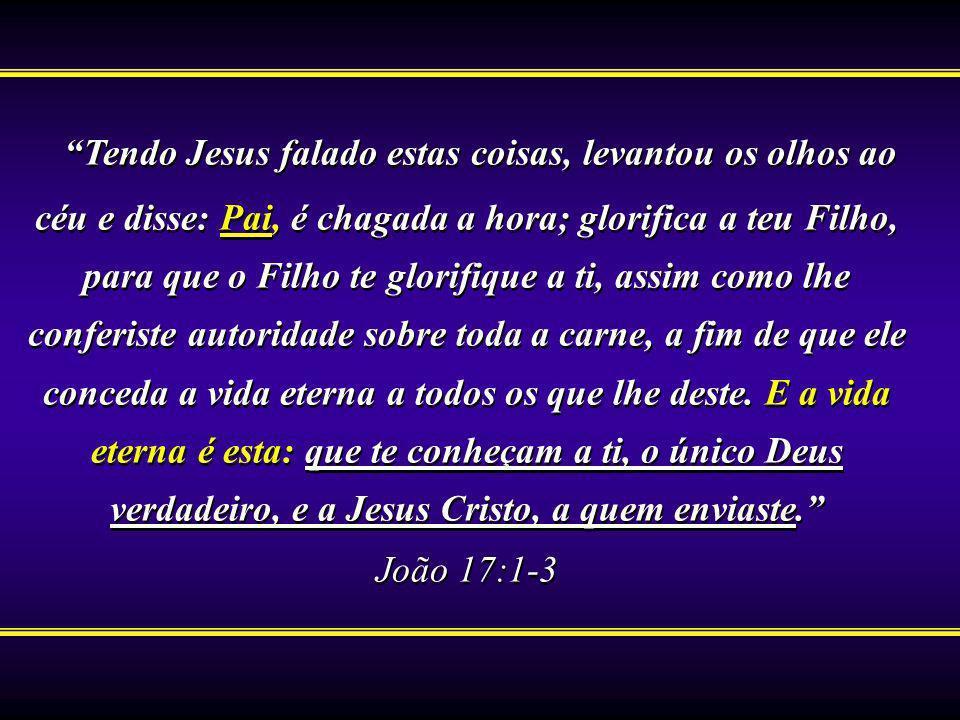 Tendo Jesus falado estas coisas, levantou os olhos ao céu e disse: Pai, é chagada a hora; glorifica a teu Filho, para que o Filho te glorifique a ti,